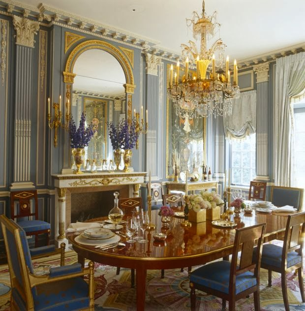Neo-Classical Dining in Blue and Gold
