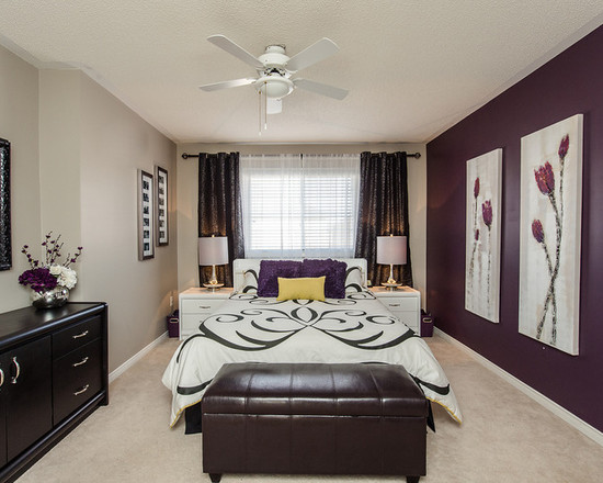 Purple Flowers In The Bedroom Interiors By Color