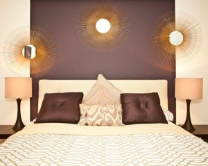 Purple, Gold and Cream Bedroom