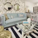 Eggshell Blue Sofa and Gold Ottomans