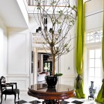 Foyer in Black, White and Chartreuse