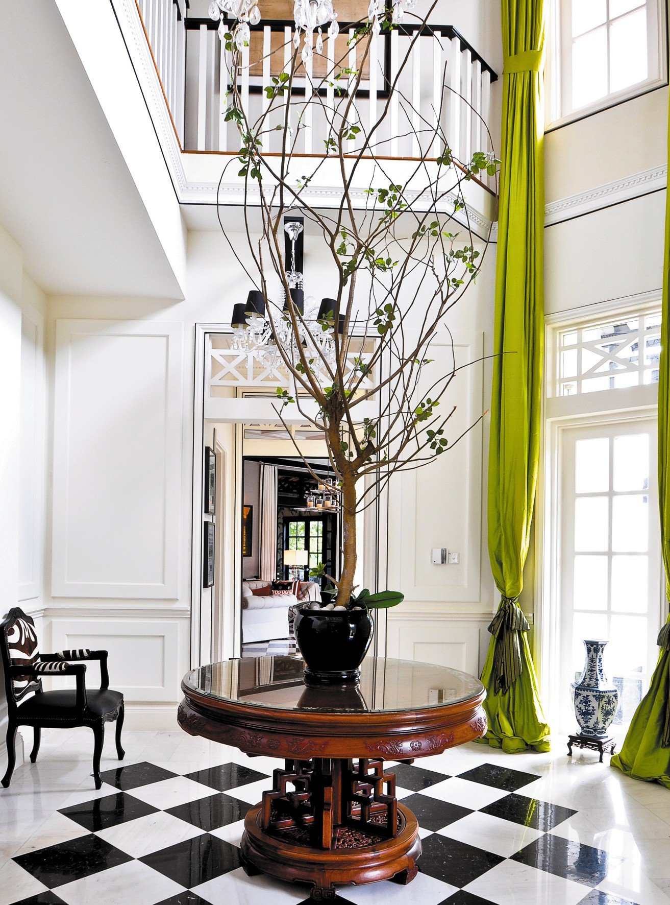 Foyer in black white and chartreuse interiors by color - Simply amazing black and white curtains to decorate your home interior ...