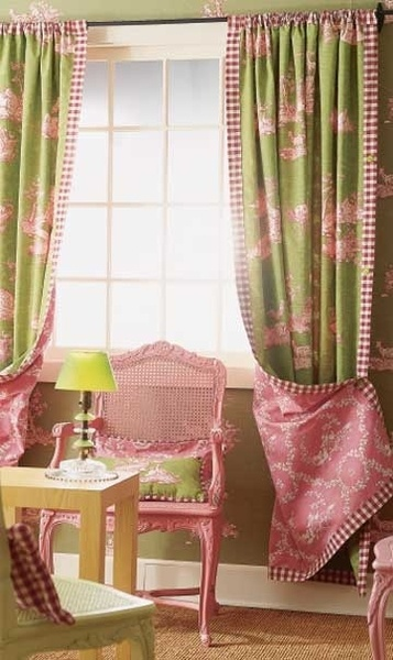 green and pink toile
