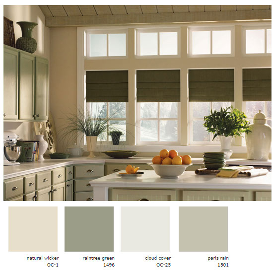 Green Neutrals Kitchen Using Benjamin Moore Interiors By