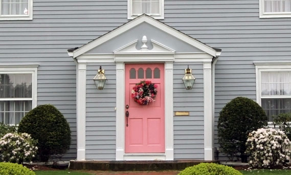 Home Exterior In Gray And Pink Interiors By Color Custom Grey Home Interiors Exterior
