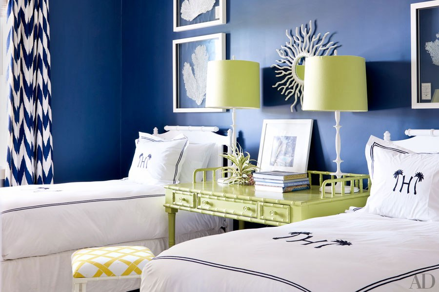 contemporary poolhouse bedroom in blue and green lamps from circa