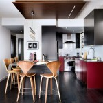 Modern Kitchen in Red and Charcoal