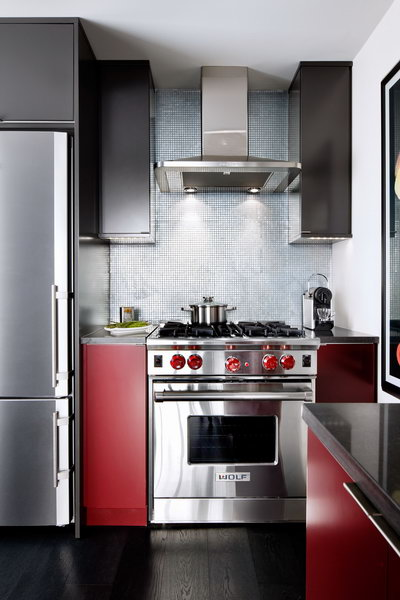 modern kitchen in red and charcoal 2