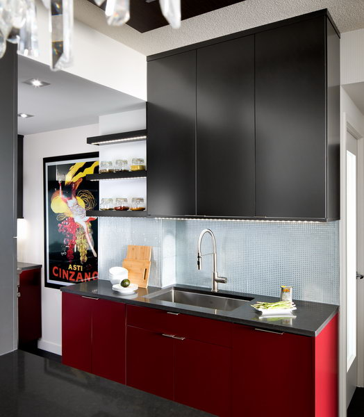 modern kitchen in red and charcoal 3