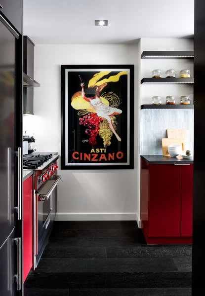modern kitchen in red and charcoal 4
