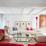 Contemporary Red and White Living Room
