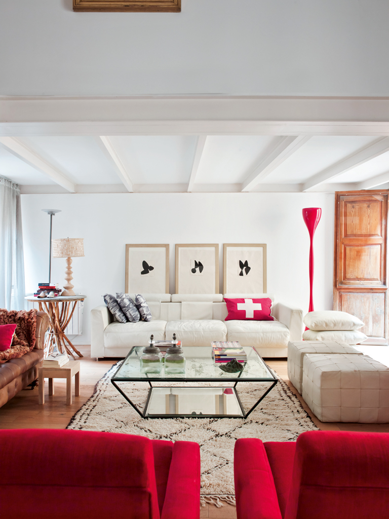 Contemporary Red and White Living Room - Interiors By Color