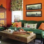 Orange Glasscloth and Green Velvet