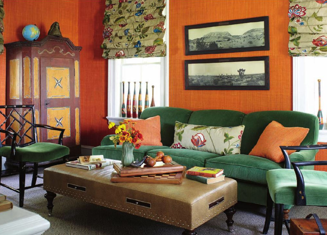 burnt orange and green living room