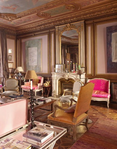 palacio paris vintage pink fireplace