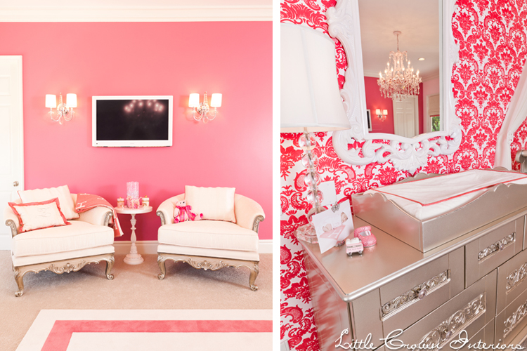 Pink damask nursery interiors by color - Little crown interiors ...