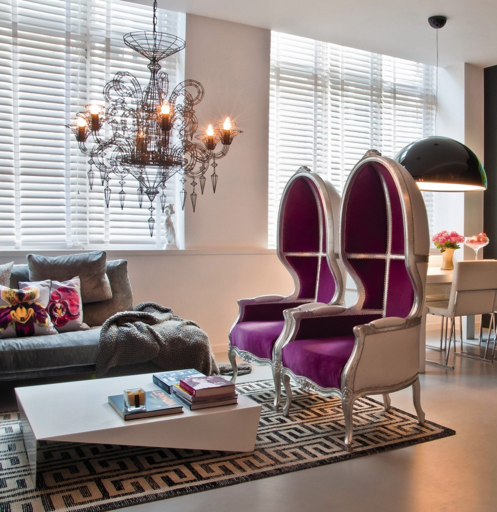 Contemporary Space in Purple and Gray