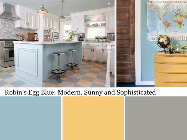 Robins Egg Blue With Yellow And Grey