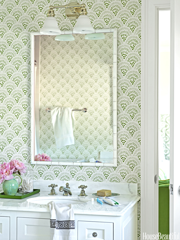 Small Stylish Green Bathroom