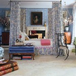 Traditional Master Bedroom in Floral Blue