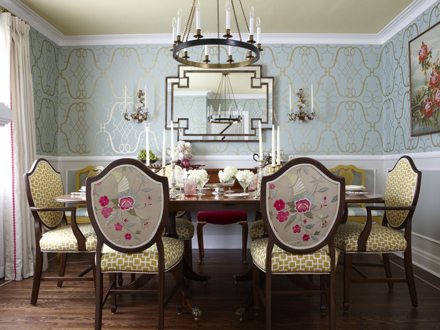 Dining in Blue, Gold and Pink