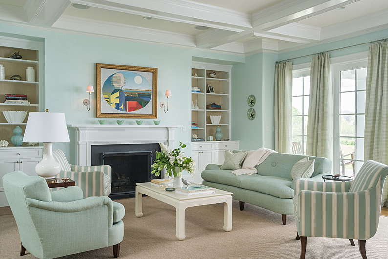 Mint Colored Traditional Living Room