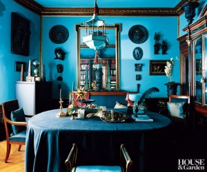 Traditional Home Library in Turquoise
