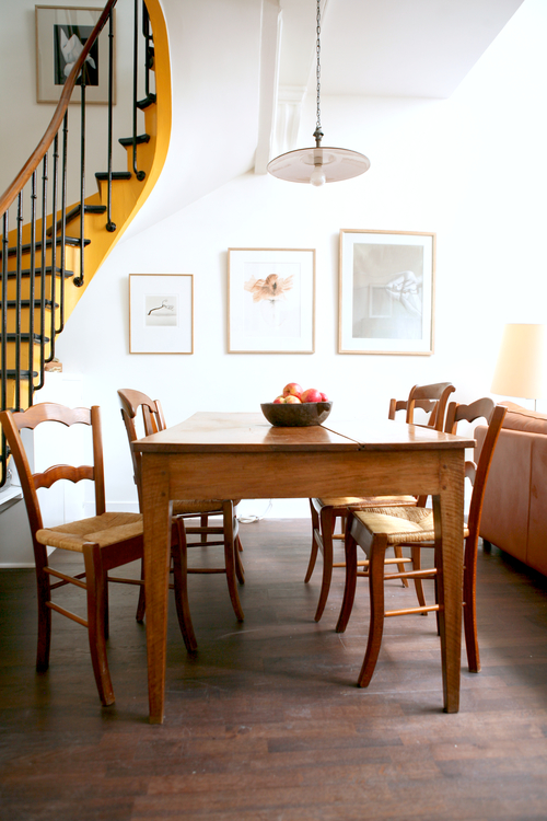 yellow stairs dining