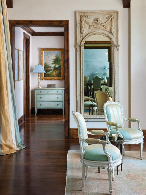 French Inspired Living in Aqua, Gold and Neutrals