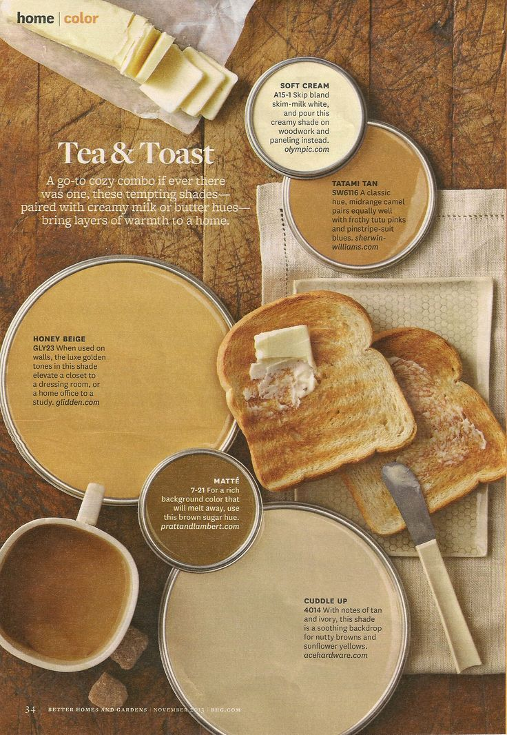 Bhg Tea Amp Toast Color Palette Interiors By Color