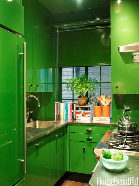 Small Kitchen Green Lacquer  Interiors By Color