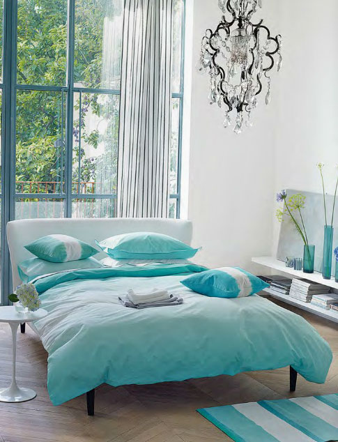 turquoise color bedroom ideas contemporary bedroom in turquoise interiors by color 17594