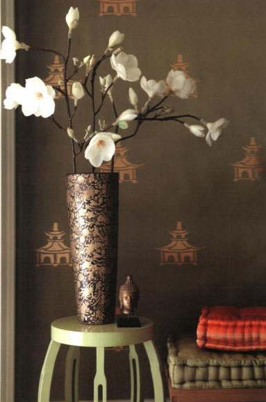 Copper Stenciled Pagodas