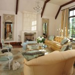 French Inspired Living Room with Limestone Fireplace