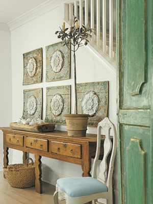 french mint hue foyer & Mint Door Antique Sideboard - Interiors By Color