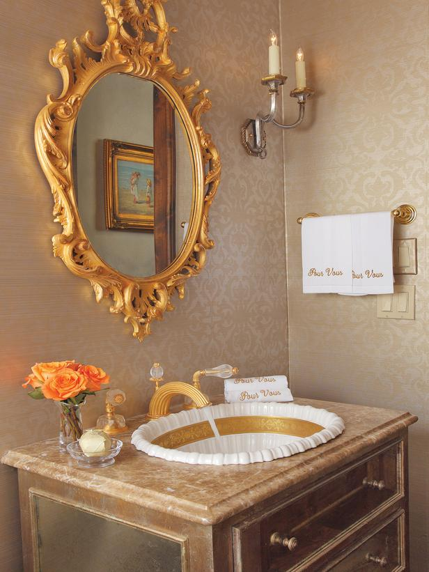 French Inspired Gold Bathroom