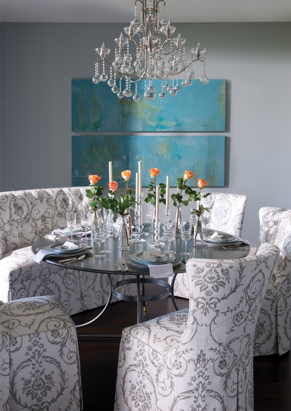 Eclectic Dining in Gray and Turquoise