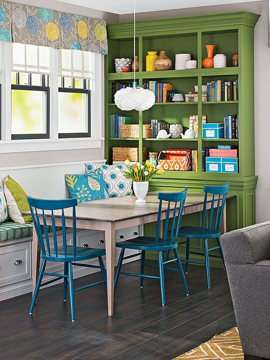 Teal and Green Dining