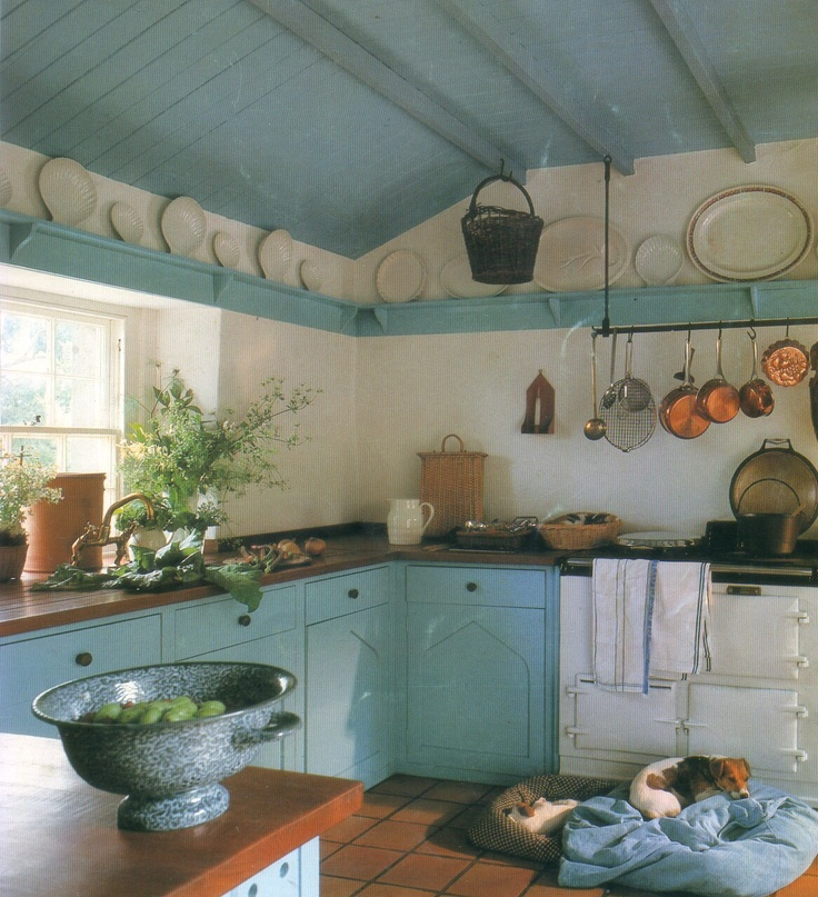Cottage Light Blue and White Kitchen - Interiors By Color