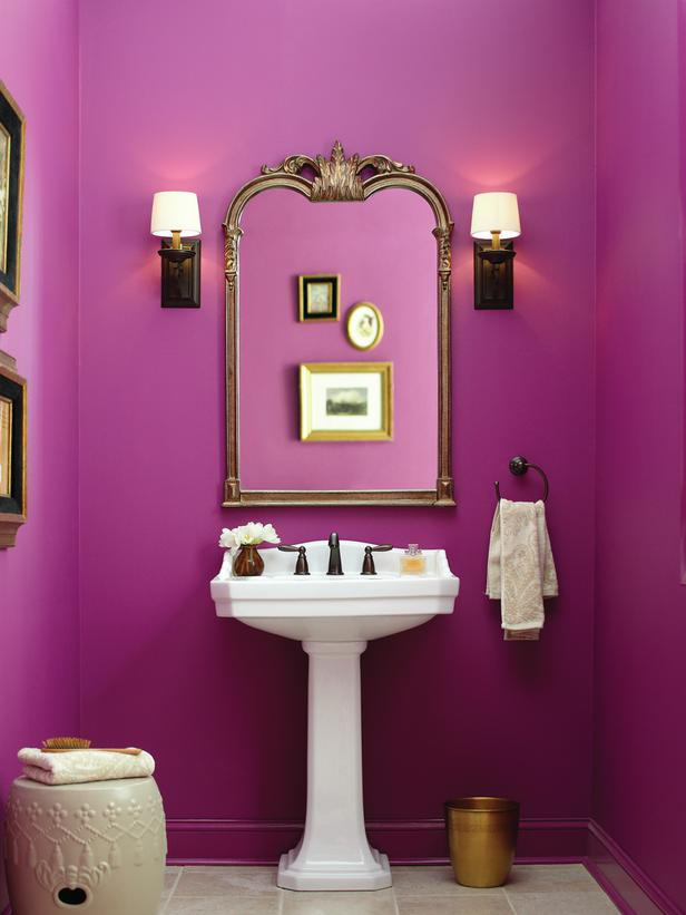 Small Fuchsia Powderoom Interiors By Color