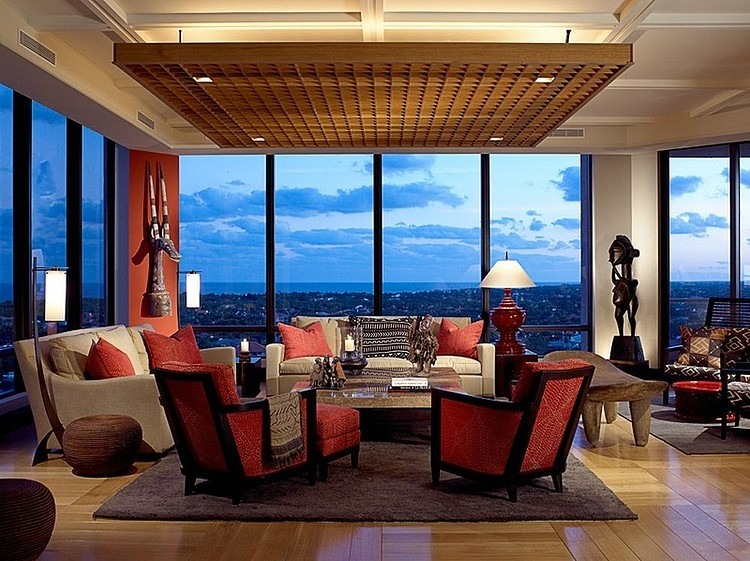 sky apartment living room ethnic red