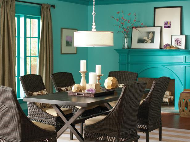 Turquoise Walls And Ceilings And Wicker Chairs Interiors