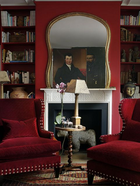 Red Traditional Home Library Interiors By Color
