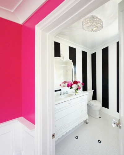 Hot Pink Black And White Stripes Interiors By Color