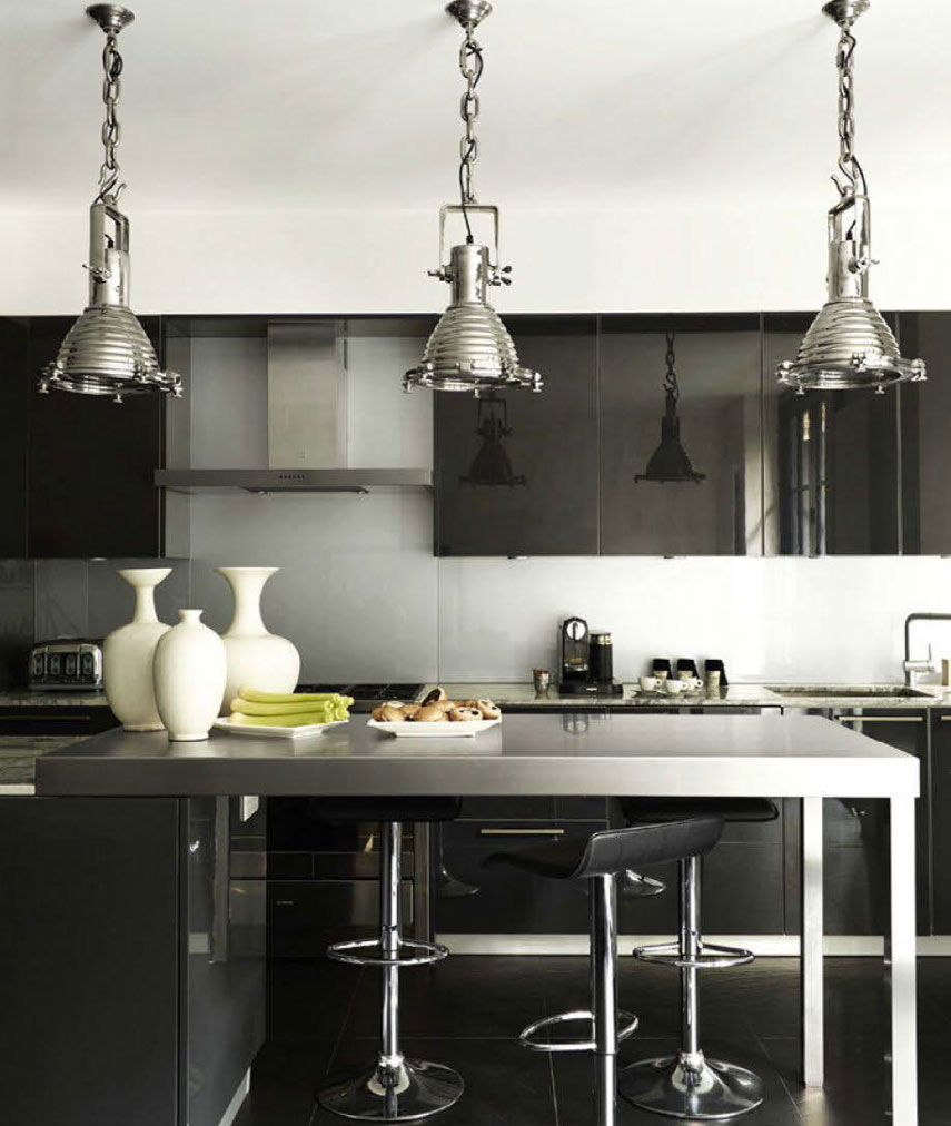 Black Glossy Kitchen Cabinets