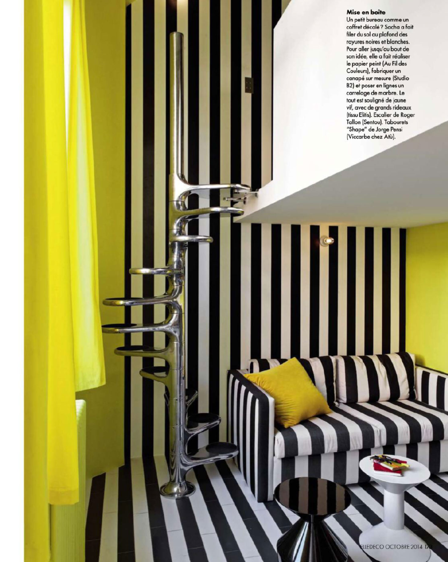 Black white stripes yellow stairs