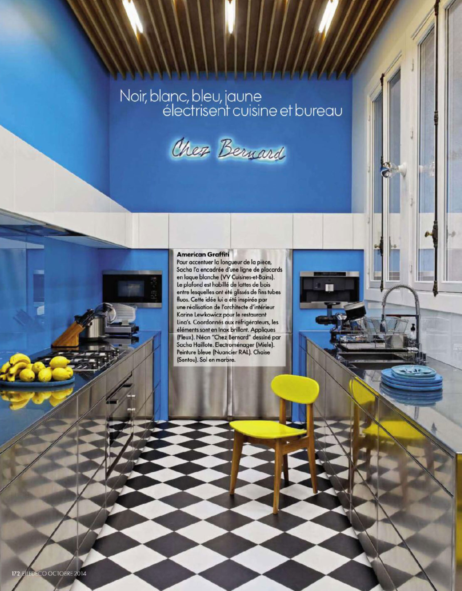 Blue and Yellow Kitchen - Interiors By Color