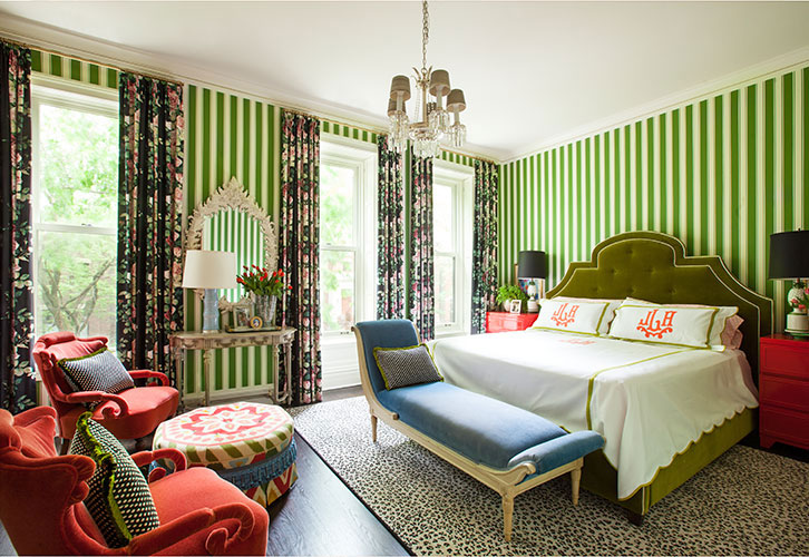 Green and Red Bedroom by Summer Thornton Design ...