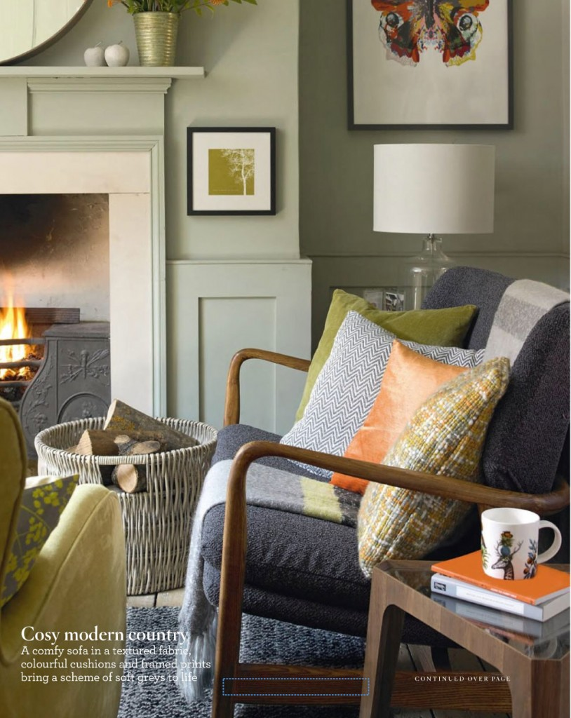 Lime and Orange Country Living Room