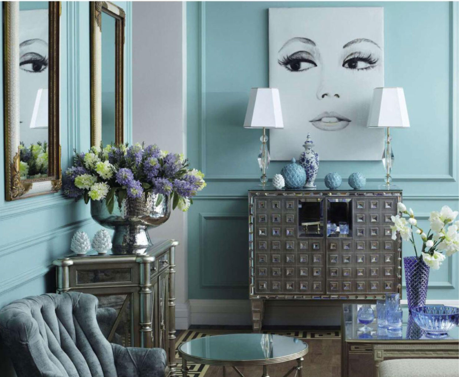Pastel Blue Living Room - Interiors By Color